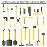 Set of 31 simple vector garden, construction and repair tool Royalty Free Stock Photos