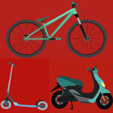 Set of Simple Vector TransportationBicycle , Scooter , Motobike Royalty Free Stock Photos