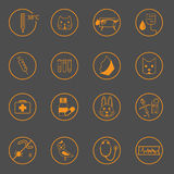 Set of simple vet icons. On dark background Stock Photos