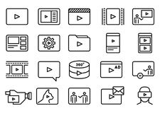 Set of Simple Video Vector Line Art Icons. Set of Simple Video Content Related Vector Line Art Icons. Consist of Presentation, Stream, Virtual Reality Royalty Free Stock Images