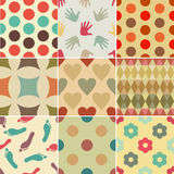 Set of simple vintage patterns (dots, geometric, flowers) Stock Image