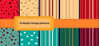 10 simple vintage patterns. Set of 10 simple vintage patterns stock illustration