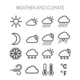 Set of simple weather and climate icons Royalty Free Stock Image