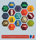 Set of Singapore icons Stock Photo