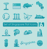 Set of Singapore icons Royalty Free Stock Photography