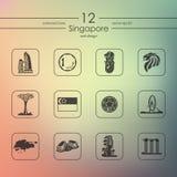 Set of Singapore icons Royalty Free Stock Images