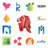 Set of singapore lion, pixellab, shiv, share png, sqaure, mech, na, lineman, judah and the lion icons. Set Of 13 simple  icons such as singapore lion, pixellab Royalty Free Stock Photos