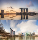 Set of Singapore Skyline and view in Marina Bay Stock Image