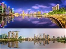 Set of Singapore Skyline and view in Marina Bay Stock Images