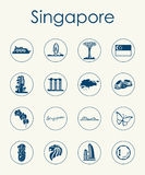 Set Singapur proste ikony Zdjęcia Royalty Free