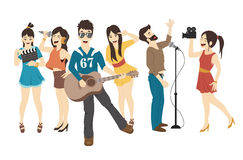 Set of Singer and musicians Stock Images