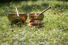 Set of singing bowls in the own garden, zen outdoors. Set of metal singing bowls in the grass of the own garden, zen wellness massage buddhism yoga alternative stock images