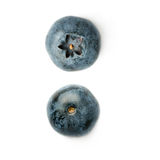 Set of Single berry of Bilberry or blueberry over isolated white background Stock Photo