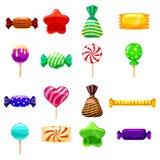 Set single cartoon candies, lollipop, candy, desserts. Illustration, isolated on white. Cartoon style. Set single cartoon candies, lollipop, candy, desserts Stock Image