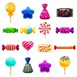 Set single cartoon candies, lollipop, candy, desserts. Illustration, isolated on white. Cartoon style. Set single cartoon candies, lollipop, candy, desserts Stock Images