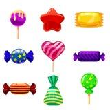 Set single cartoon candies, lollipop, candy, desserts. Illustration, isolated on white. Cartoon style. Set single cartoon candies, lollipop, candy, desserts Stock Photography