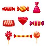 Set single cartoon candies, lollipop, candy. Illustration, isolated on white. Cartoon style. Set single cartoon candies, lollipop, candy. Illustration isolated Royalty Free Stock Photography