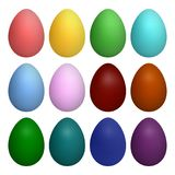 Vector set of single-color Easter eggs. Isolated on white background. royalty free illustration