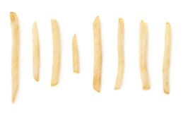Set of single french fries isolated Royalty Free Stock Photo