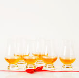 Set of single malt tasting glasses, single malt whisky in a glasses, white background, red bow. Exclusive set royalty free stock photo