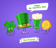 Set of sint patrick day characters. Vector cute cartoons Royalty Free Stock Photo