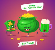 Set of sint patrick day characters. Vector cute cartoons Stock Image