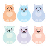 Set sitting funny fat cats, pastel colors on white Stock Images