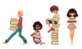 Set of sitting and walking children reading books Stock Image