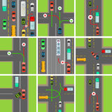 Set of Situations on Road. Traffic Laws Govern Royalty Free Stock Images