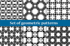 A set of six abstract seamless patterns. Black and white. Stock Photos