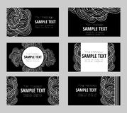 Set of six abstract waves and curves  business cards Royalty Free Stock Photos