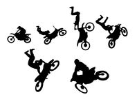 Dirt bike stuntman acrobatics silhouette set. A set of six acrobatic driving figures, that are made in extreme motorcycle sports Royalty Free Stock Images