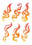 Set of six aggressive colorful fire flames for your design. Vect. Or illustration Stock Image