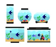 A set of six aquariums. Of different shapes. Aquariums with fish, pebbles and plants. Illustrations for children`s books and encyclopedias. Flat vector Royalty Free Stock Photography