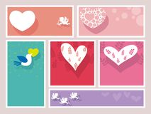A set of assorted Valentine's Day frames/cards,  illustration. A set of six assorted Valentine's Day frames/cards with text space,  illustration Stock Photography