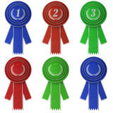Set of six award ribbons Stock Photo