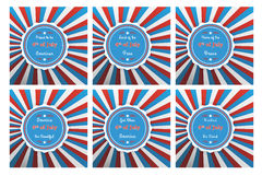 Set of six badges for Independence with different 4th of July sl. Ogans on colorful background in in the US national flag colors Stock Photos