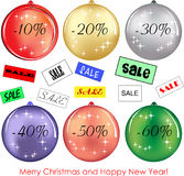 Set of six balls as decoration with discounts Stock Photos