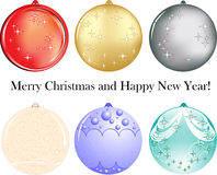 Set of six balls as decoration for New Year. Merry Christmas and Happy New Year decoration royalty free illustration