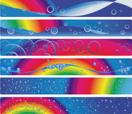 Set of six banners with rainbow royalty free stock photos