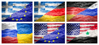 Set six big different national flags. Stock Image