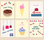 Vector set of six birthday greeting cards Stock Images