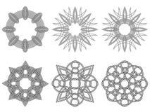 Set of six black circular stencils Royalty Free Stock Photo