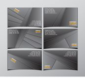 Set of six black visit cards Stock Photo