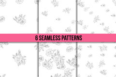 Set of six black and white floral patterns Royalty Free Stock Photos