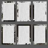Set of six black and white frames. Grey background. Grunge style. Vector eps 10 Stock Photo