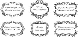 Set of six black and white frames for text in Royalty Free Stock Images