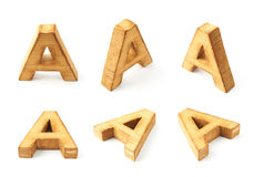 Set of six block wooden letters isolated Royalty Free Stock Photography