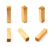 Set of six block wooden letters isolated Stock Images