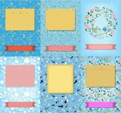 Set of floral cards with banners for texts royalty free stock image